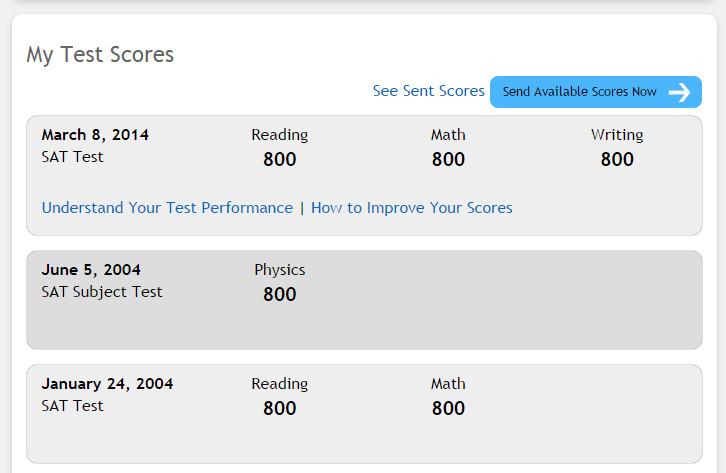 Sat scores online date