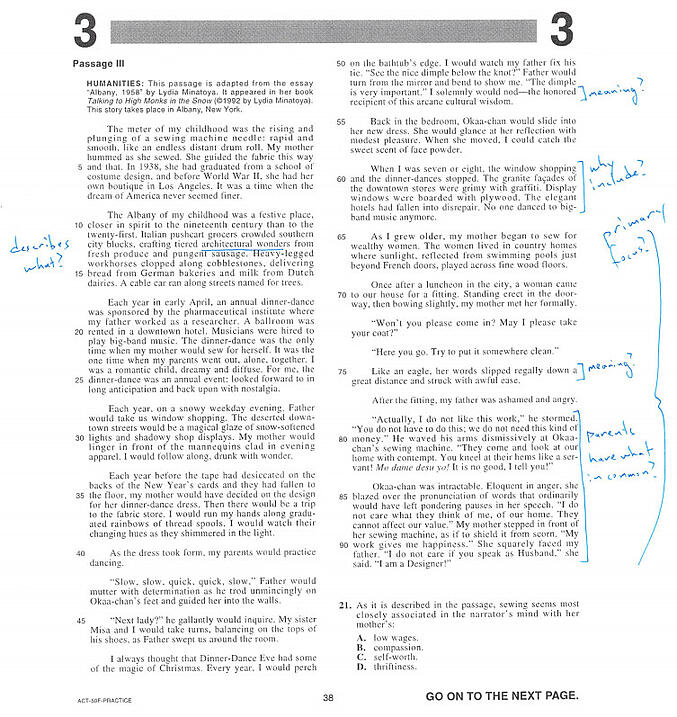 Worksheets Read The Passage how to get 36 on act reading 11 strategies from a perfect scorer body 36reading markup