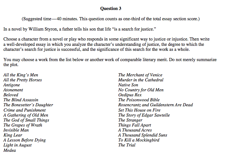 Ap english lit essay questions