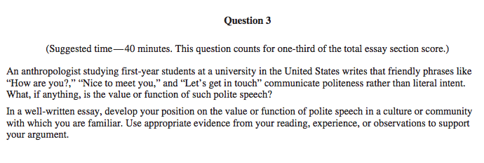 Example (from 2015 Free Response Questions): ...