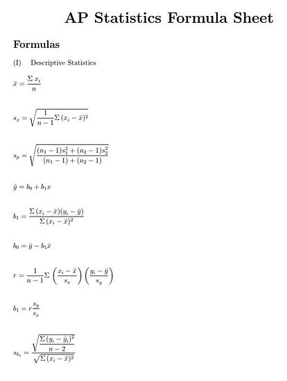 What Is (and Isn't) on the AP Statistics Formula Sheet?