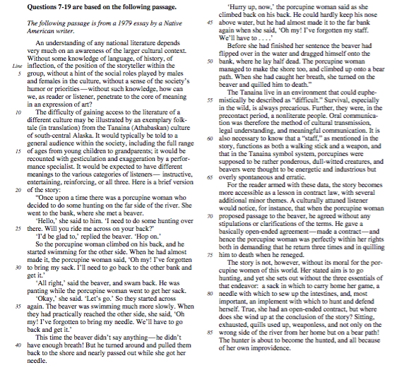 Long Passage from SAT Critical Reading Section