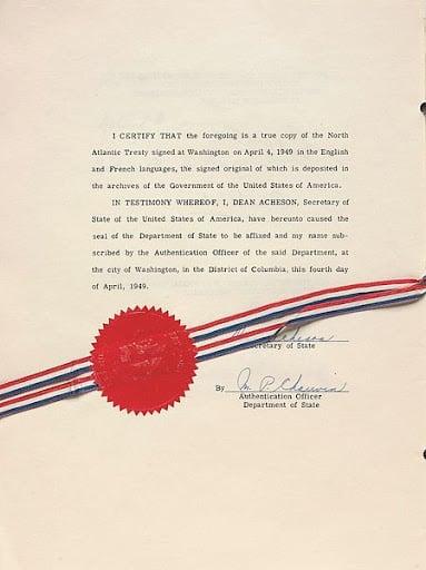 body-nato-treaty-authentication-certificate