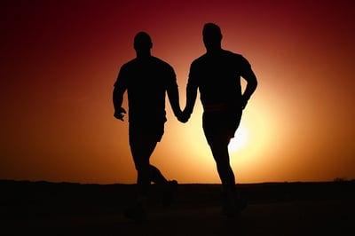 body-partner-men-sunset-running