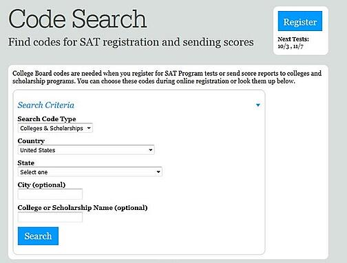 sat college codes and school codes for score reports