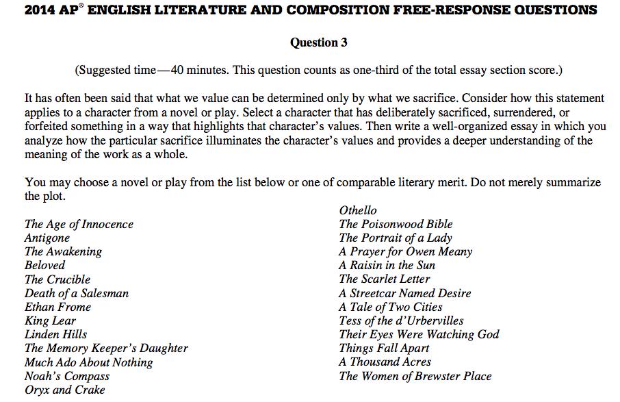 ap literature prompts essay