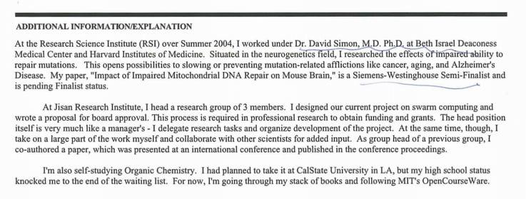 Harvard supplement essay
