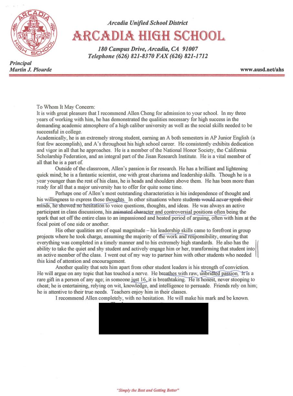 letter of recommendation sample letter