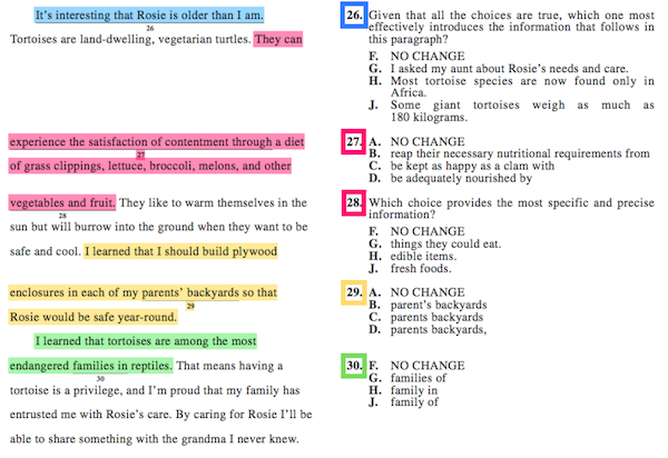 Worksheets Read The Passage the best way to approach act english passages first read blue highlighted sentence 26 is a big picture question so like with answer as you go strategy youll need either make your bes