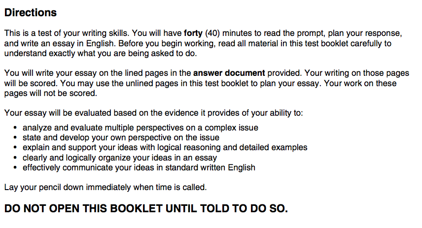 act essay format