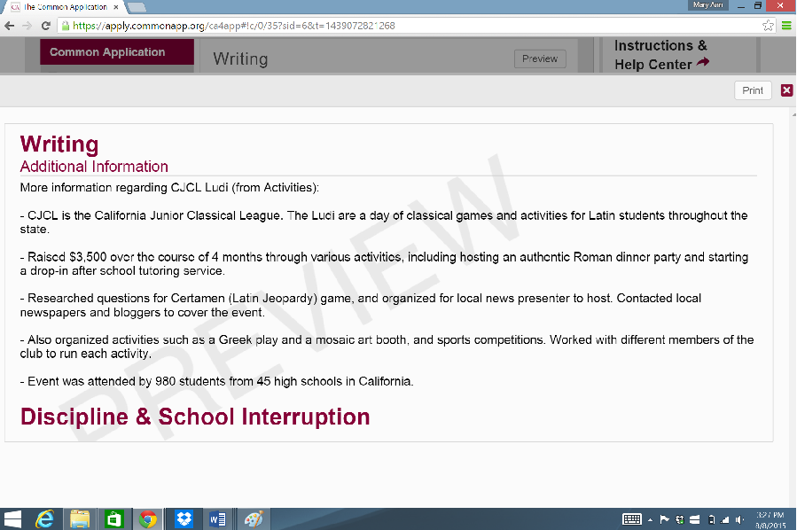 example of common application essays