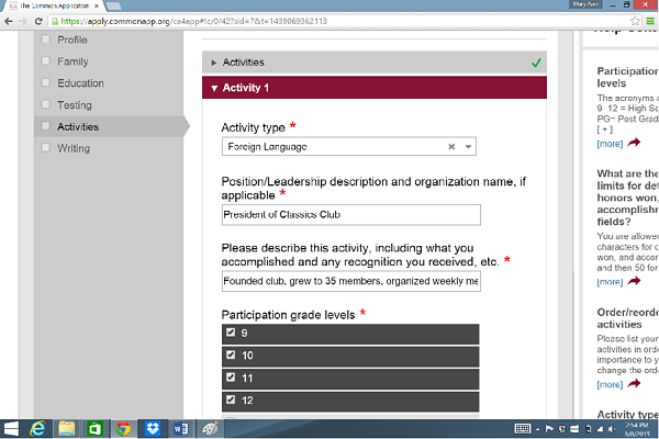 how to write about extracurriculars on college applications common app activities filled out
