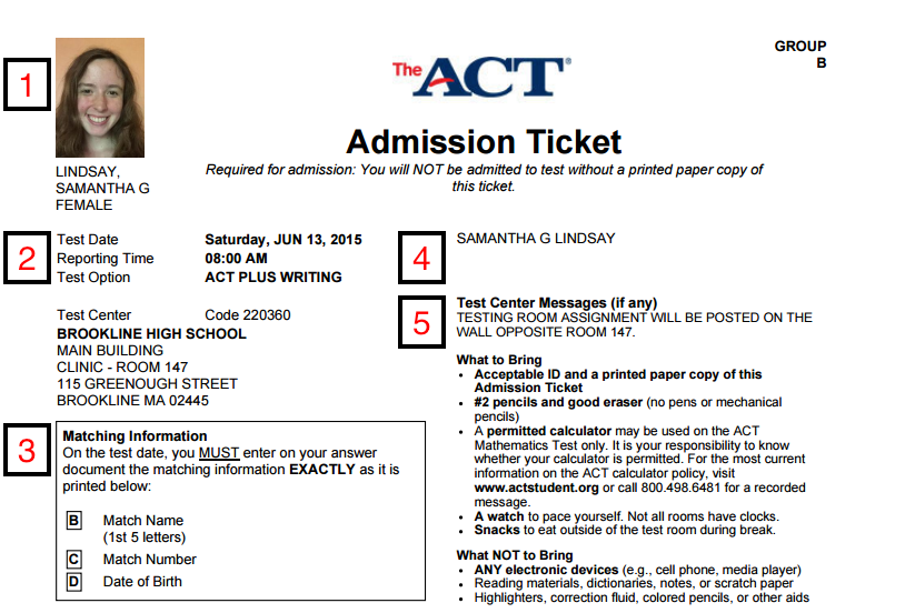 act admission ticket what it is how to print and what to do if